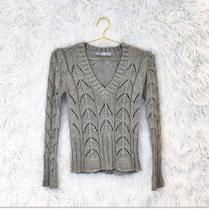Zara v-neck metallic sweater
